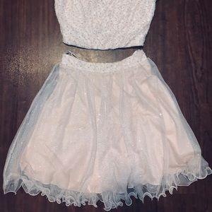 Blush pink two piece elegant dress